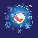 New Year card with merry Santa Claus vector illustration