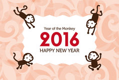 New Year card with Monkey. For year 2016 stock illustration