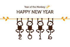 New Year card with Monkey Stock Photo