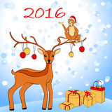 2016 New Year card with monkey and deer. Vector illustration Vector Illustration
