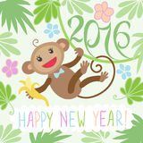 New year card with monkey. Happy new year greeting card 2016 with cute monkey Stock Image