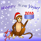 2016 New Year card with monkey Stock Photo