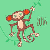 New Year card with the monkey holding vine. Stock Photography