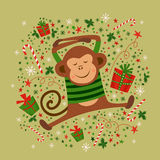 New year card with monkey,  illustrations. New year card with monkey symbol of New Year 2016. Good for calendar, notebook cover, poster or party invitations Royalty Free Stock Photos
