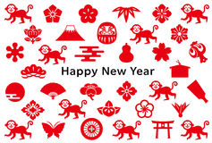 New year card with monkey and Japanese icons. Background of Japanese icons.  New Year's card Royalty Free Stock Photo