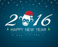 New year card with monkey. And santa hat for year 2016 Stock Image