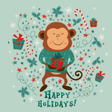 New year card with monkey and text Happy holidays,  illustrations Stock Photography