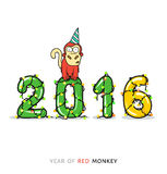 New Year card with Monkey for year 2016. Year of a red monkey. Monkey on figures with a garland. 2016 greeting card with monkey. Ready design for the press royalty free illustration