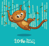 New Year card with Monkey for year 2016 Royalty Free Stock Photography