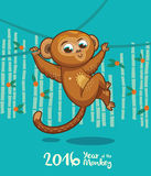 New Year card with Monkey for year 2016. Vector illustration of monkey in cartoon style, symbol of 2016 on the Chinese calendar Royalty Free Stock Photography