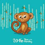 New Year card with Monkey for year 2016. Vector illustration of monkey in cartoon style, symbol of 2016 on the Chinese calendar Stock Photo