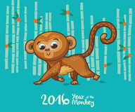 New Year card with Monkey for year 2016. Vector illustration of monkey in cartoon style, symbol of 2016 on the Chinese calendar Royalty Free Stock Photo