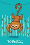 New Year card with Monkey for year 2016. Vector illustration of monkey in cartoon style, symbol of 2016 on the Chinese calendar Royalty Free Stock Images
