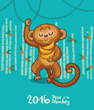 New Year card with Monkey for year 2016. Vector illustration of monkey in cartoon style, symbol of 2016 on the Chinese calendar Stock Images