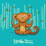 New Year card with Monkey for year 2016. Vector illustration of monkey in cartoon style, symbol of 2016 on the Chinese calendar Stock Photography