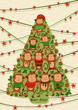 New year card with monkeys,  illustrations.  Good for calendar, notebook cover, poster or party invitations. New year card with monkeys,  illustrations Stock Photography