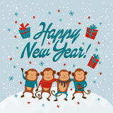 New year card with monkeys and text Happy New Year,  illustrations Stock Images
