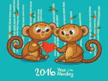 New Year card with Monkeys for year 2016. Vector illustration of monkey in cartoon style, symbol of 2016 on the Chinese calendar Royalty Free Stock Photo