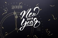 New Year 2019. Card with New Year lettering and gold clock, meaning one minute before New Year.  royalty free illustration