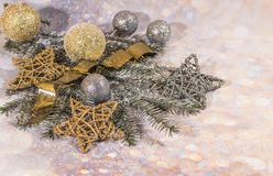 New Year card. New Year`s design. SilveNew Year card. New Year`s design. Silver, gold balls and stars. r and gold balls. New Year card. Christmas decoration, a stock photography