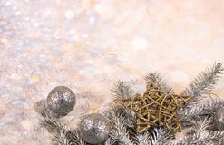 New Year card. New Year`s design. Silver, gold balls and stars and gold balls. New Year card. Christmas decoration, a wreath of fir branches, glass balls and stock photos