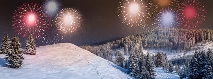 New Year card, New Year`s eve background, scene with colorful, party fireworks display on the sky, royalty free stock images
