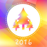 New Year card with the new year trees. On a modern triangle backround. Fully editable vector illustration perfect for new year and christmas greeting cards Royalty Free Stock Photo