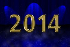 New year 2014 card. Night universe drop scene, 2014 new year card theme stock illustration