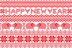 New year card with nordic pattern. Background of snow crystal and sheep Stock Image