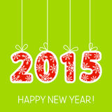 New Year card with 2015 number. On green vector illustration