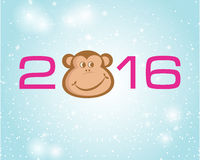 New year card with 2016 number and monk Royalty Free Stock Image