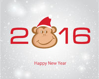 New year card with 2016 number and monk. Ey (symbol of 2016 new year) face on blue background Royalty Free Stock Image