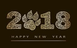 New year card with number 2018 year patterned with gold zen tangled shapes, and text Happy New Year. eps 10. New year card with number 2018 year patterned with royalty free illustration