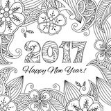 New year card with numbers 2017 on floral background. Zentangle inspired style. Zen monochrome graphic. Image for calendar, congratulation card, coloring book Stock Illustration