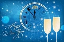 New Year card with old clock and glasses of wine. Happy New Year 2019 card - blue shiny background with wish, segment of old clock and glasses of sparkling wine royalty free illustration