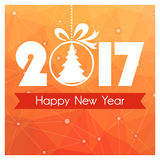 New Year card with orange polygonal background and Christmas ball with tree. New Year card with orange polygonal background and Christmas tree toy Stock Photography