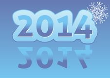 New Year card. Original New Year 2014 card in blue colour with snowflake Vector Illustration