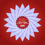 2014 New Year card. With paper lotus-shaped snowflake and lettering Royalty Free Stock Photography