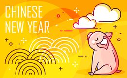 New Year card with pig and clouds on yellow background. Thin line flat design. Vector royalty free illustration
