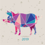 The 2019 new year card with Pig made of triangles Royalty Free Stock Image