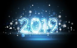 2019 New Year Concept with Colorful Neon Lights stock photo