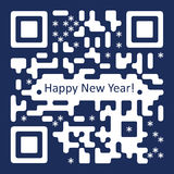 New Year Card with QR  Code Illustration Royalty Free Stock Images