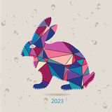 The 2023 new year card with Rabbit made of triangles Stock Images