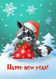 New Year card. Raccoon with a Santa hat and a New Year`s bag of gifts Royalty Free Stock Images