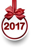 2017 New Year card. 2017 New Year card with red ball and bow. Vector illustration Vector Illustration
