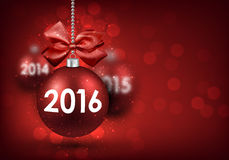 2016 New Year card. With red balls. Vector Illustration Stock Illustration