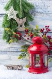 New Year card. Red candlestick and sprig Christmas tree. The theme of the new year and Christmas. New Year card. Red candlestick and sprig Christmas tree. The Royalty Free Stock Images