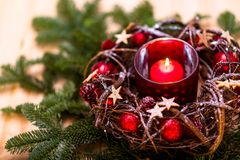 New Year card. Red Christmas candle in red New Year`s design stock photos