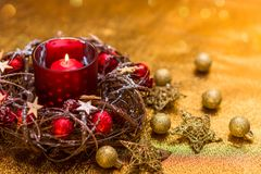 New Year card. Red Christmas candle in red New Year`s design stock photo