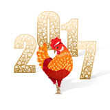New Year card. Red with golden chicken standing on a white background with shadow. Vector illustration of a beautiful ornamental figures 2017 and hen - symbol of Stock Photo